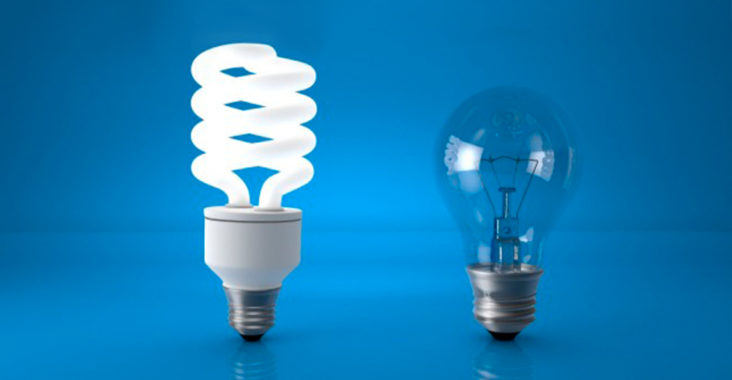 led bulb and regular bulb